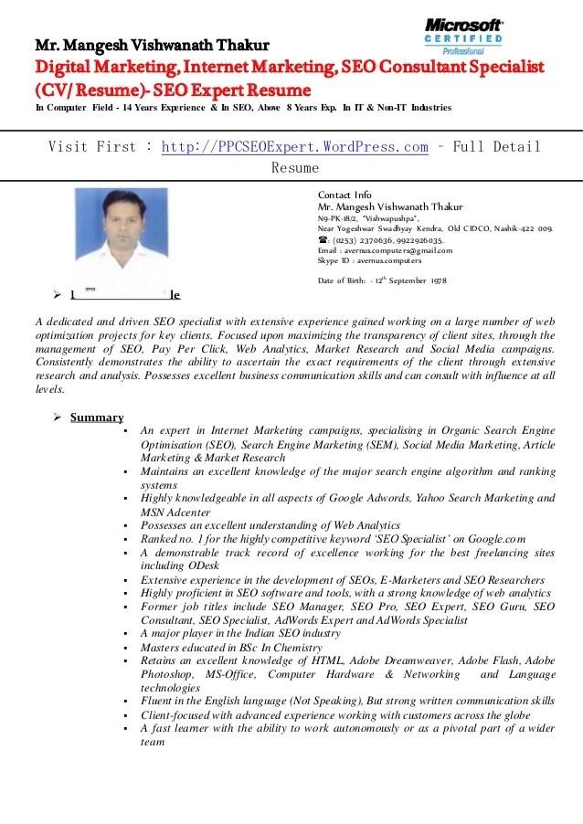 seo resume. 3. resume template seo expert resume template top 8 seo ...