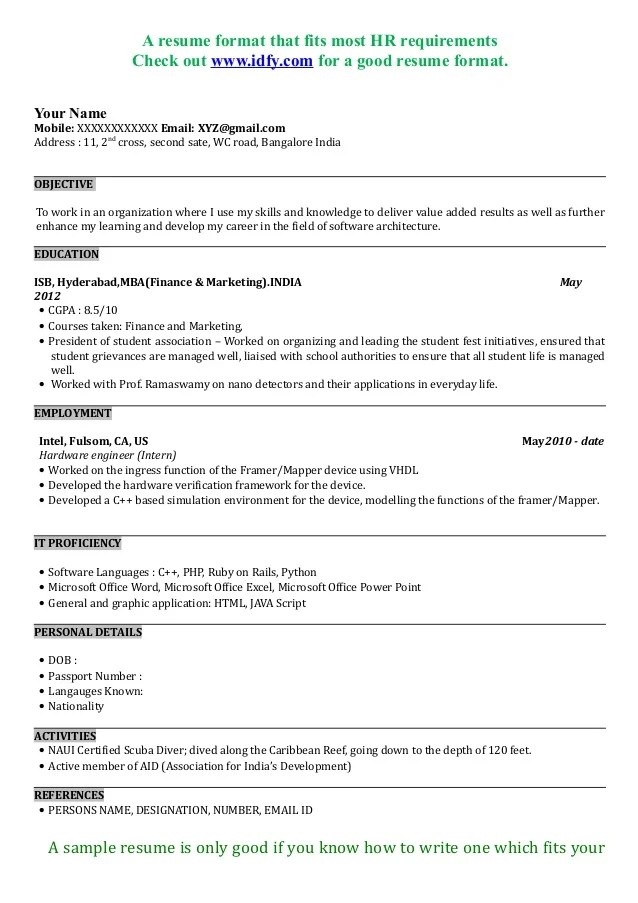 Experienced Mba Resume Format Resume Format ...