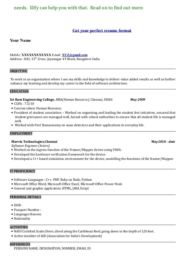 Show Me A Resume Example - Template