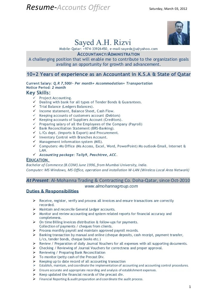 Resume Of Accounts Officer