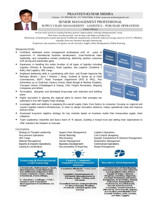 resume of logistics amp supply chain professional with 14 years of enri