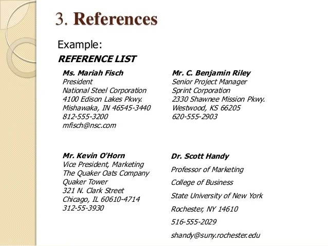 resume reference list samples