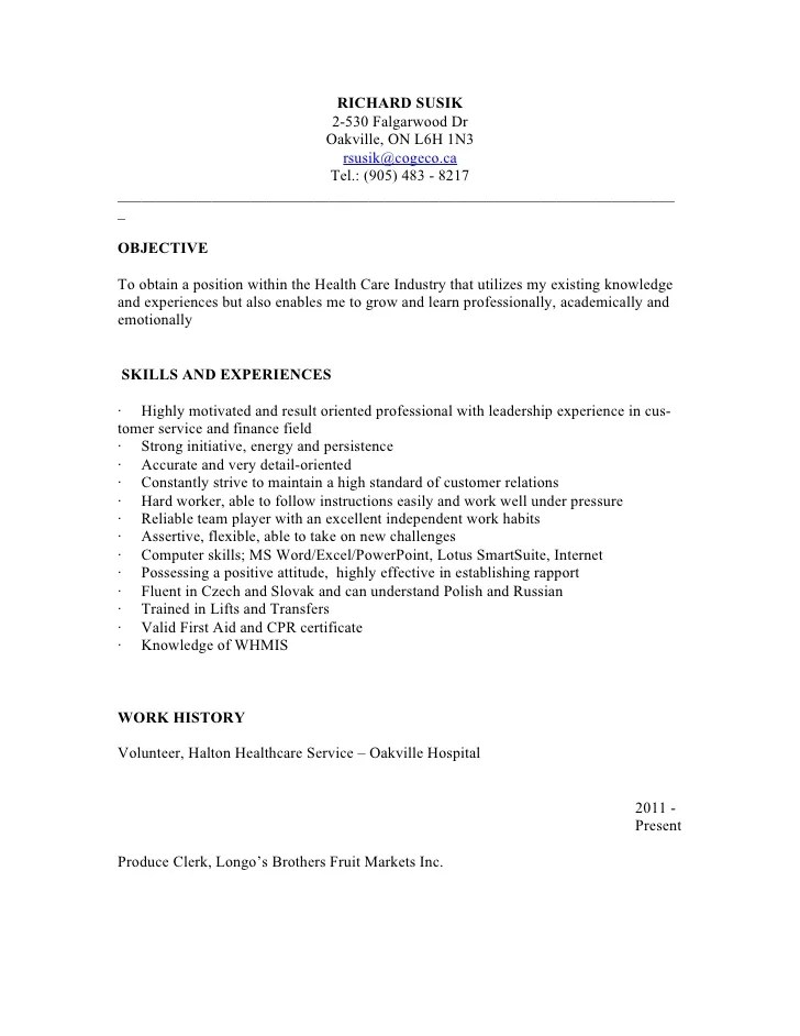 Show Me Resumes Samples. Personal Support Worker Resume Sample
