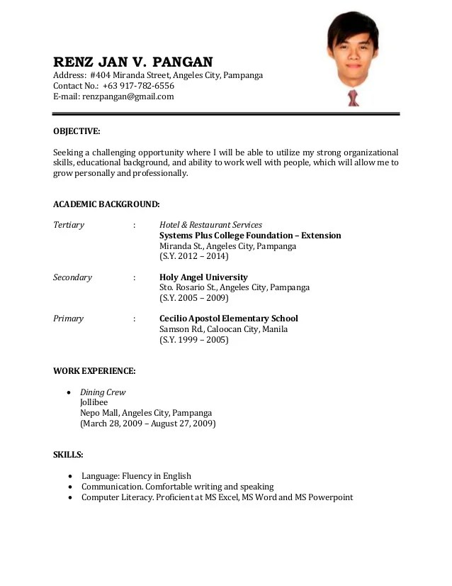 Example Of Resume Objective For Service Crew. sample cv for cabin ...