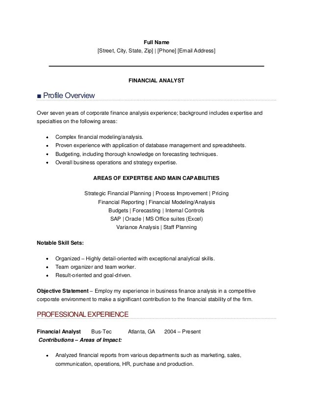 sample resume financial analyst sr financial analyst resume
