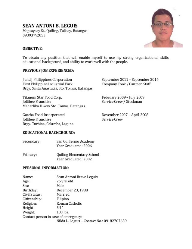 Resume Sample Objectives For Service Crew Line Cook Sample