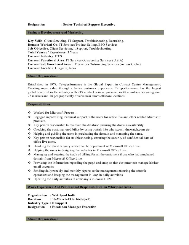 technical resume tech support resume objective help desk support
