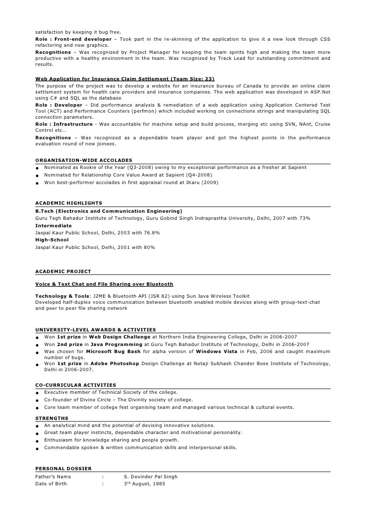 1 Year Experienced Java Resume J2ee Professional Oracle