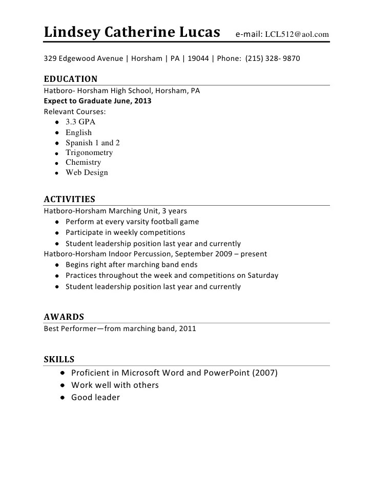 High School 1St Job Resume. Resume For High School Students With