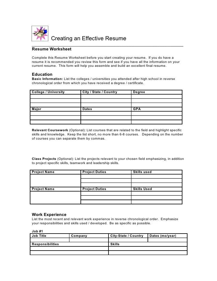 Worksheets Fill In The Blank Resume Worksheet blank resume worksheet for high school students template