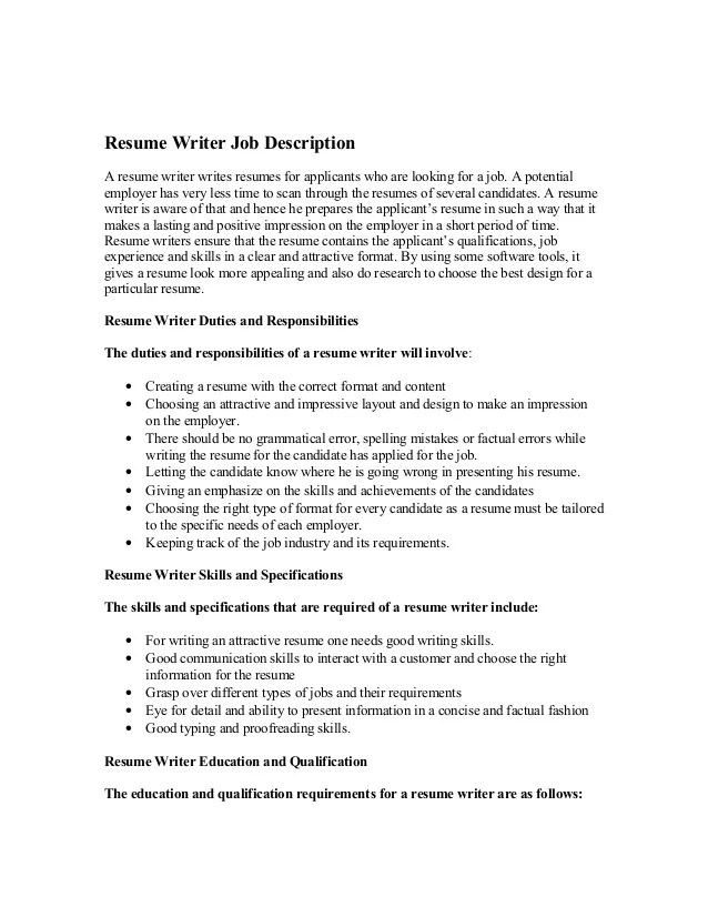resume for a writing job abdj