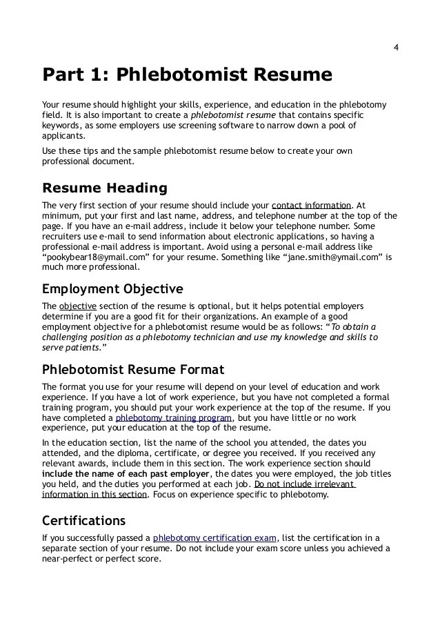 phlebotomist resumeyour resume should highlight your skills experience