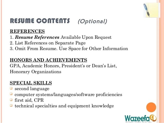 Examples Of Resumes Writing Resume Table Contents For A. Resum