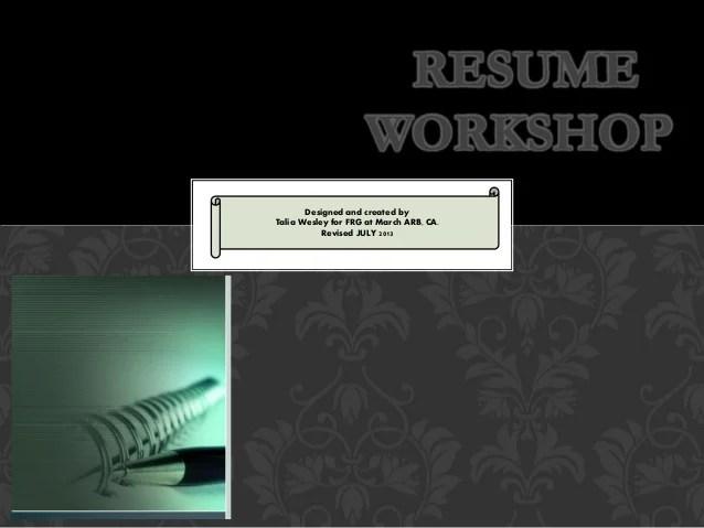 resume writing workshop final military