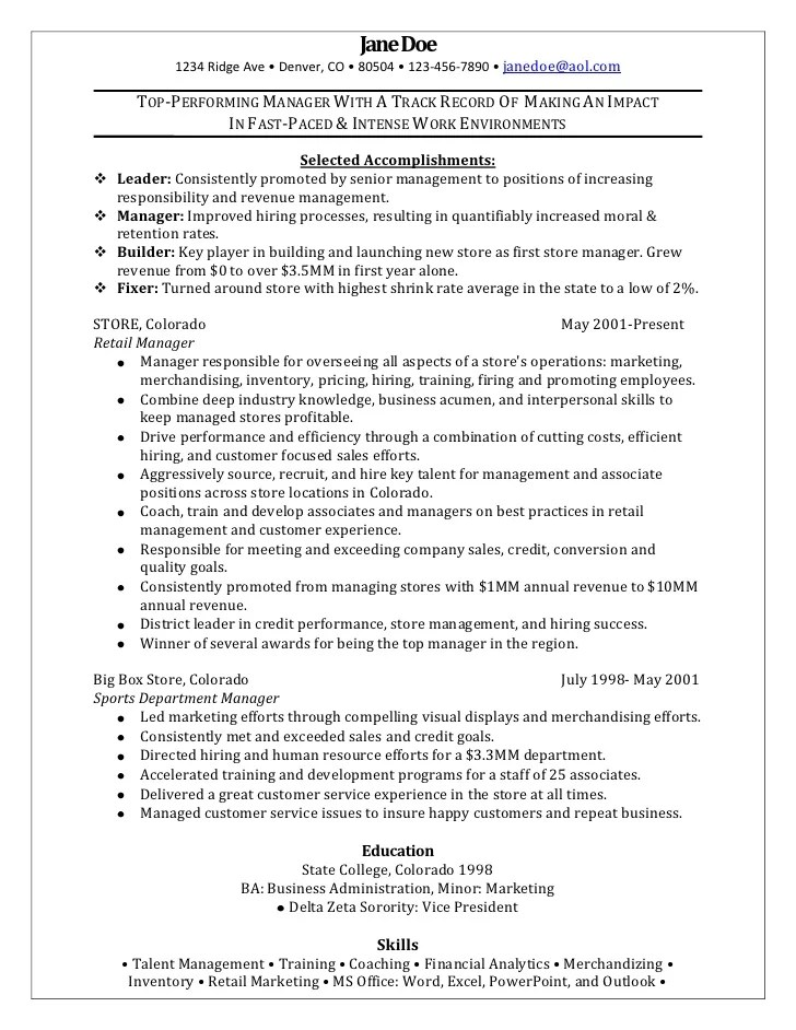 Resume Examples Retail. Resume Sample For Retail Sales Store