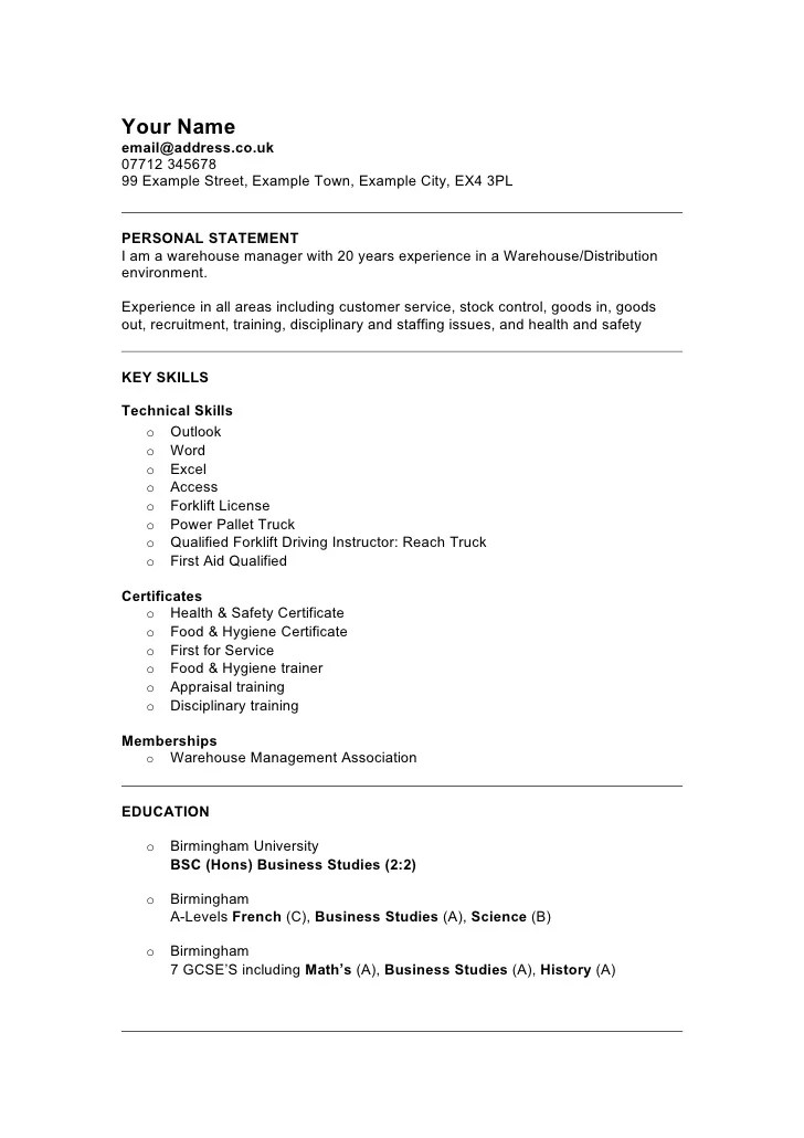 Resume For Warehouse