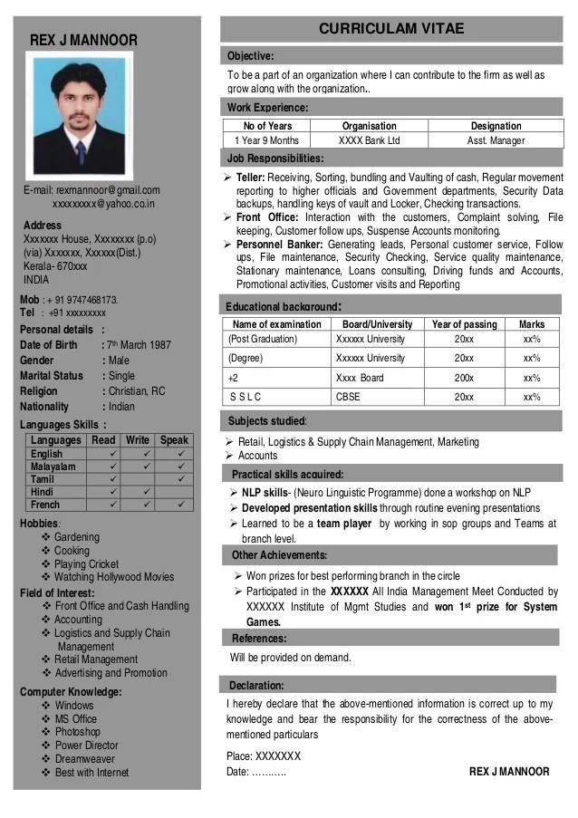 resume format for one page acbb