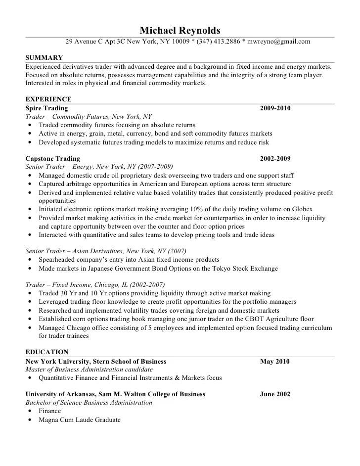 mike reynolds resume equity trader resume