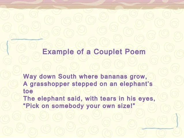 Poetry Examples Couplet