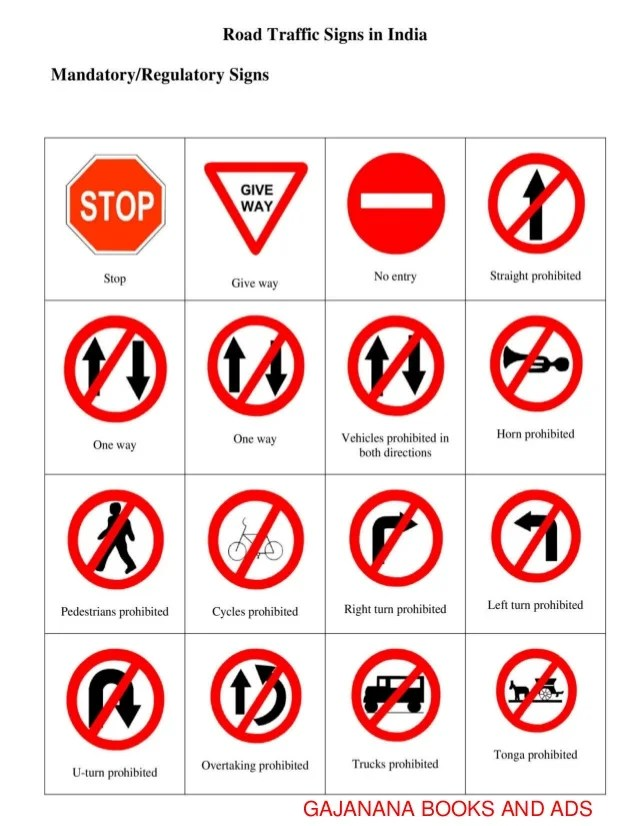 Traffic Signs Symbols And Meaning
