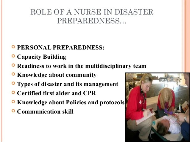 Role Of A Nurse In Disaster Management