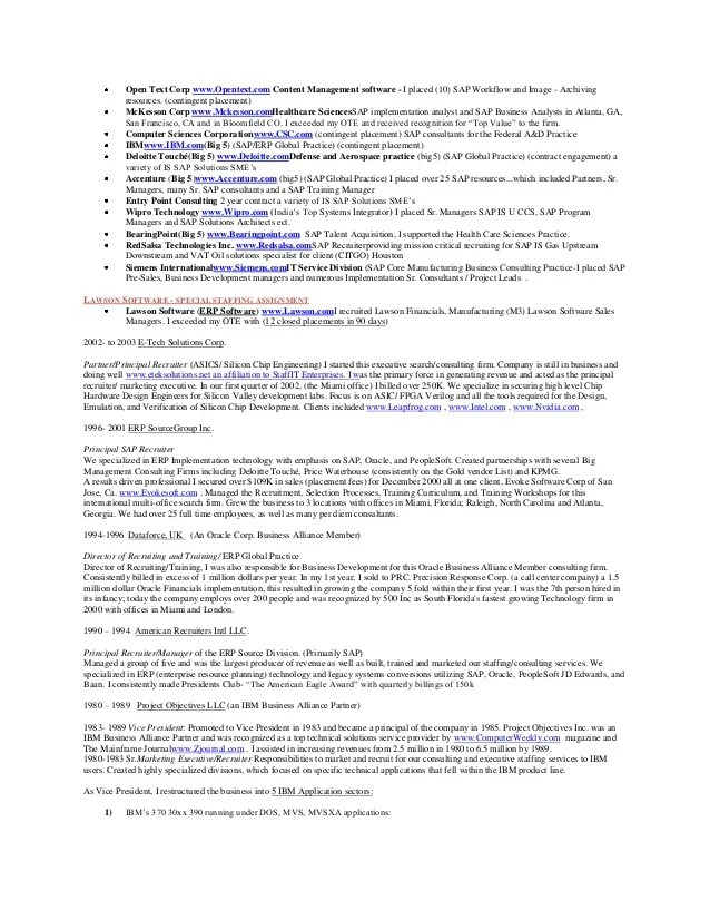 ron krà nen resume 2013 sap oracle microsoft recruitment lead