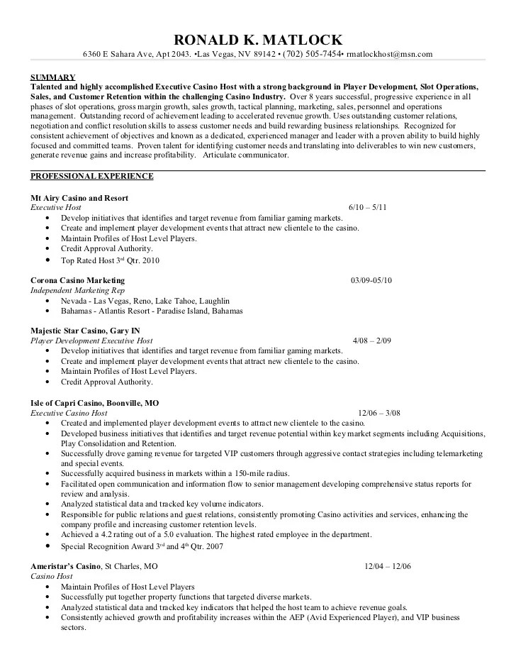 Casino Vip Host Resume Sample Server Responsibilities