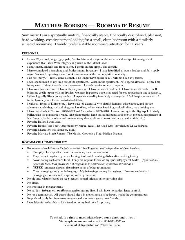 matthew robison 39 s roommate resume nyc 2013