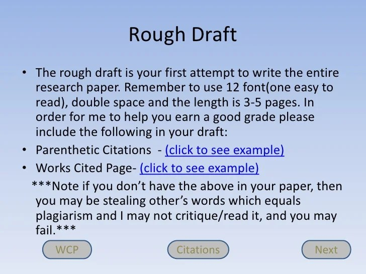 rough draft essay examples