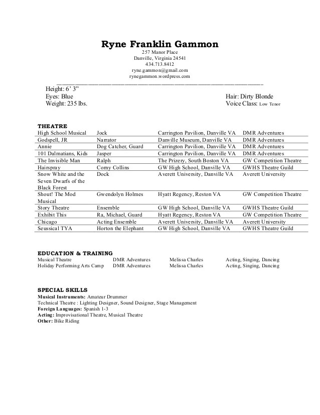 Theatre Acting Resume. Resume Examples Acting Resume Template No