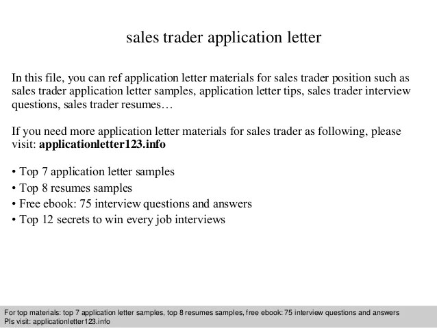 Proprietary Trader Resume. cover letter sales trading careers smak ...
