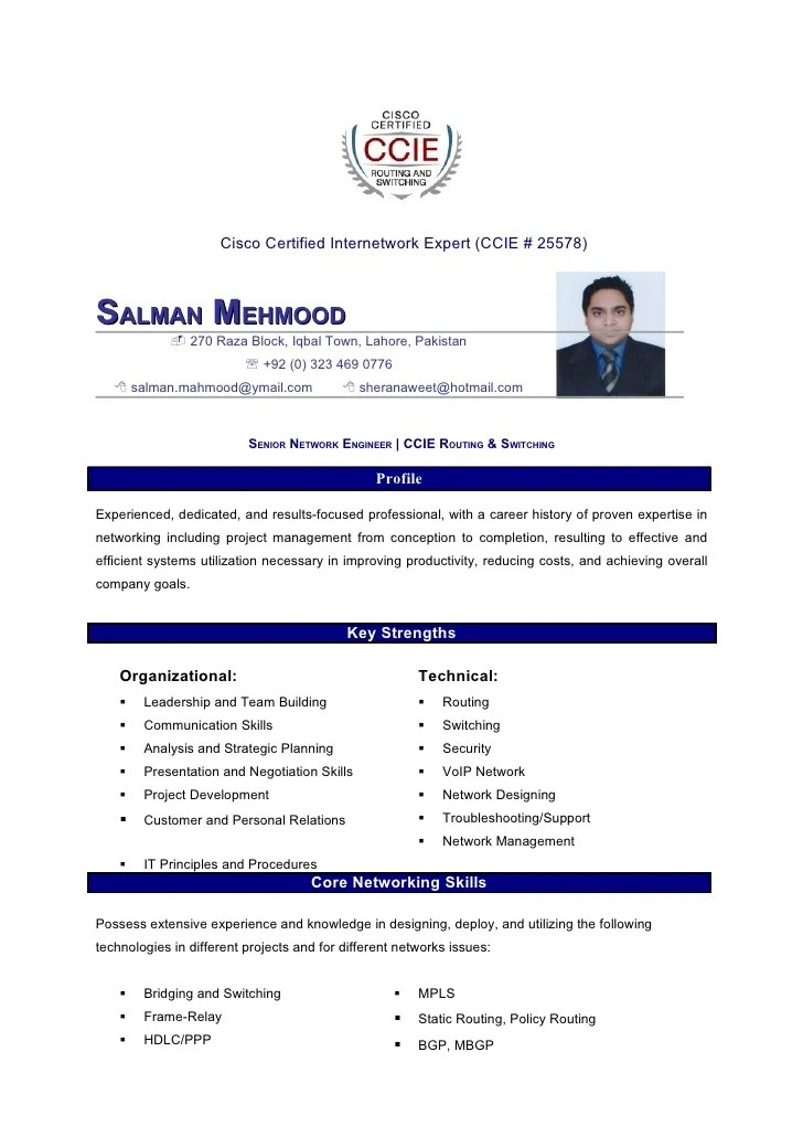 Resume Format Ccna Network Engineer