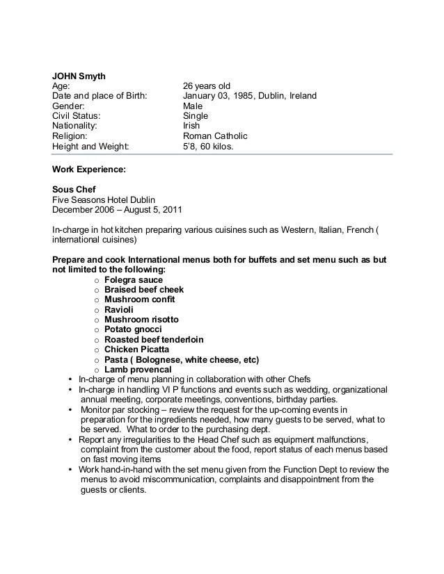 Sample Chef Resume Australia. Chef Resume Sample Examples Sous
