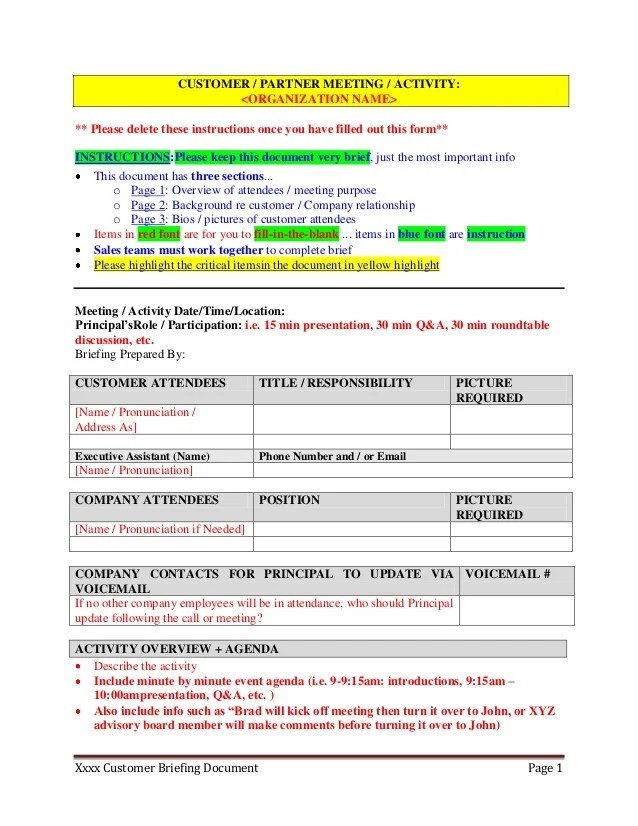 Customer Partner Briefing Template For Executive Assistants