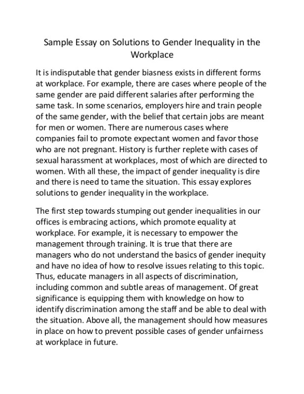 sample essay on solutions to gender inequality in the workplace it is indisble that biasness