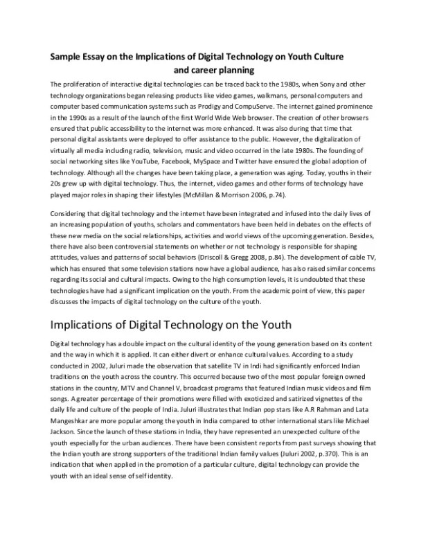 sample essay on the implications of digital technology youth cultu