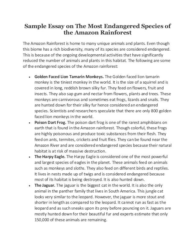 argumentative essay endangered species