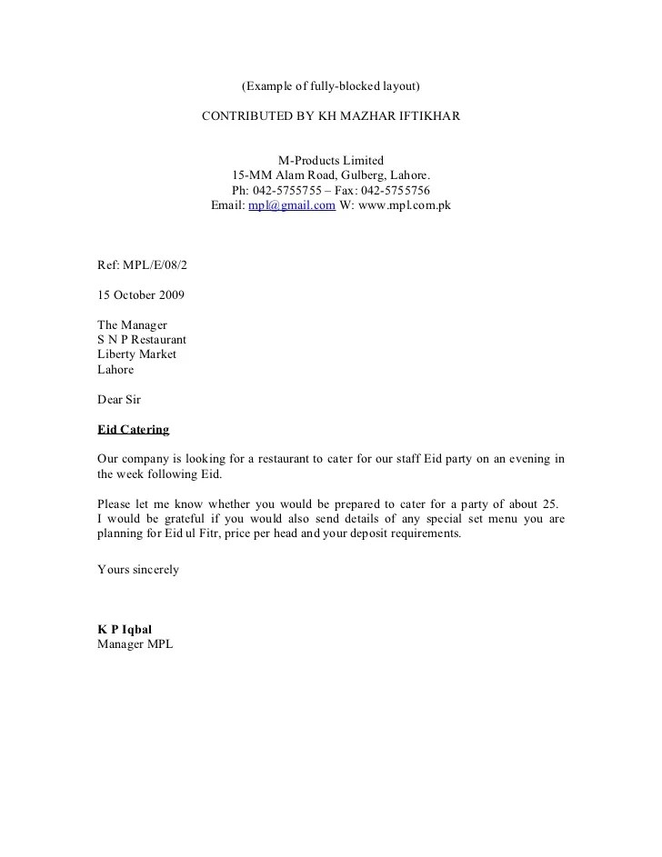 Cover Letter Block Format