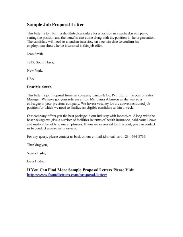 Promotion Proposal Template. job proposal letter example the job ...