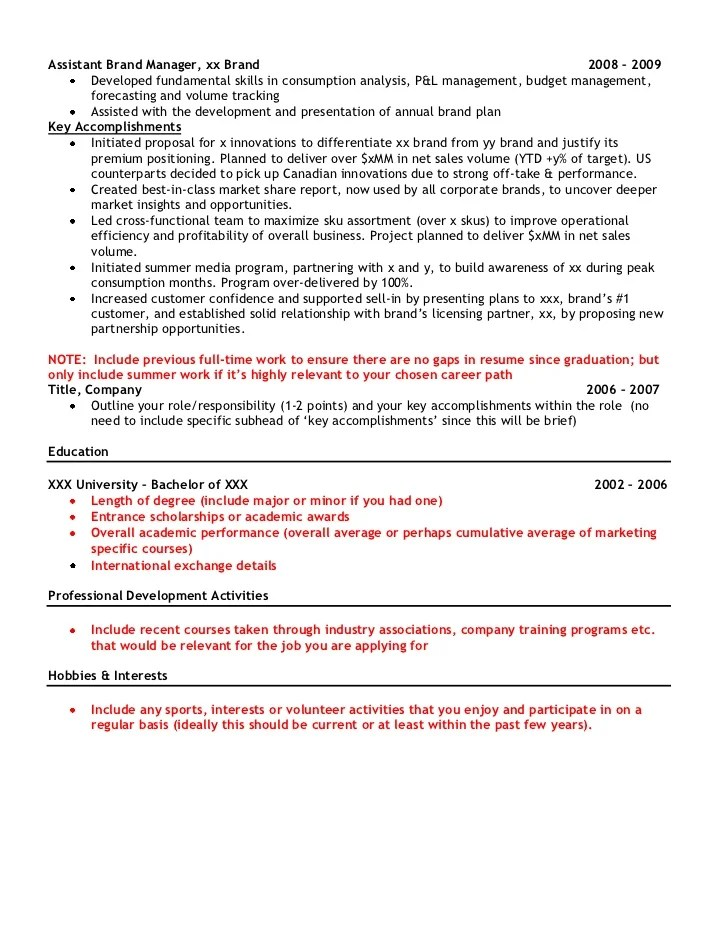 Marketing Manager Resume Examples Brand Assistant