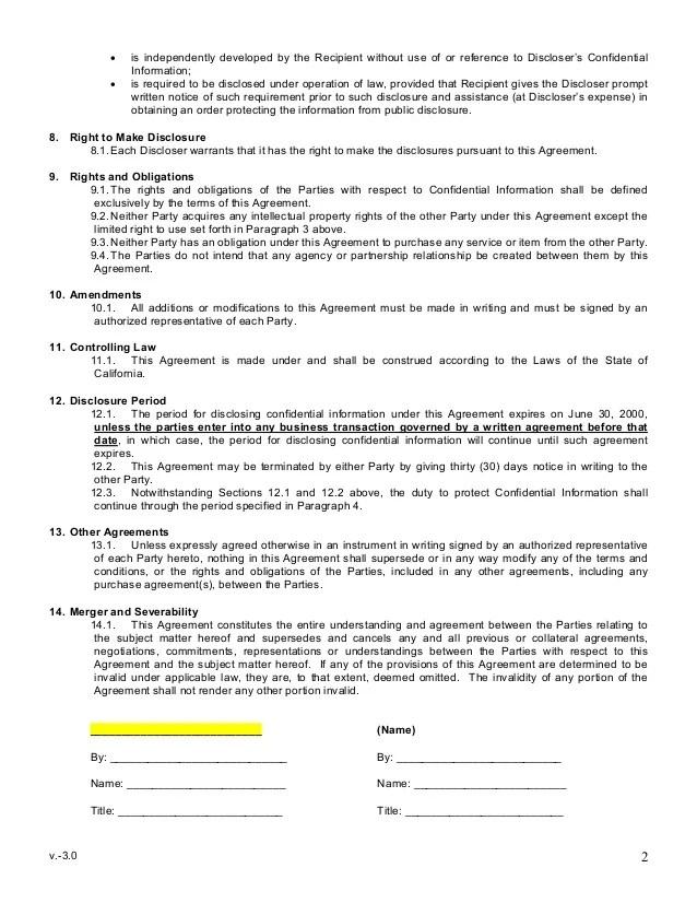 Simple Nda Template simple non disclosure agreement form 12 free – Disclosure Agreement Sample