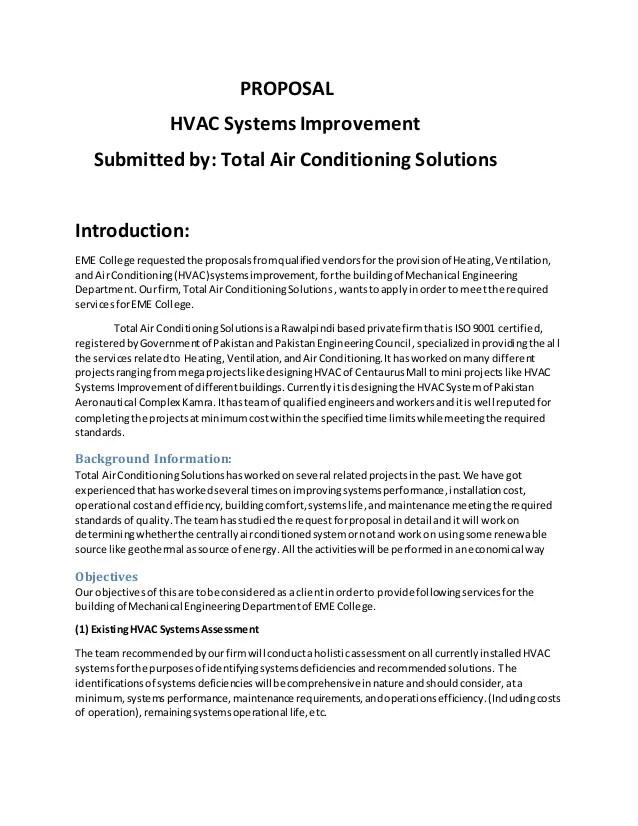 Hvac proposals template free download saigontimesfo