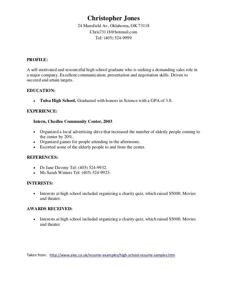 Job Resumes For Highschool Students. resumes and templates resume ...