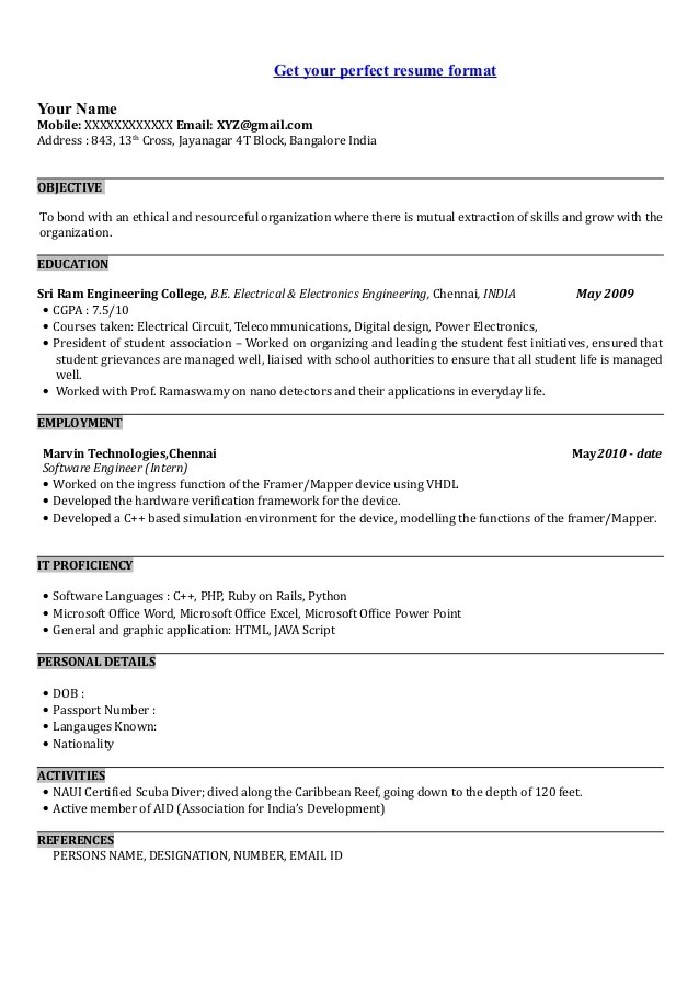 Example of a software developer resume