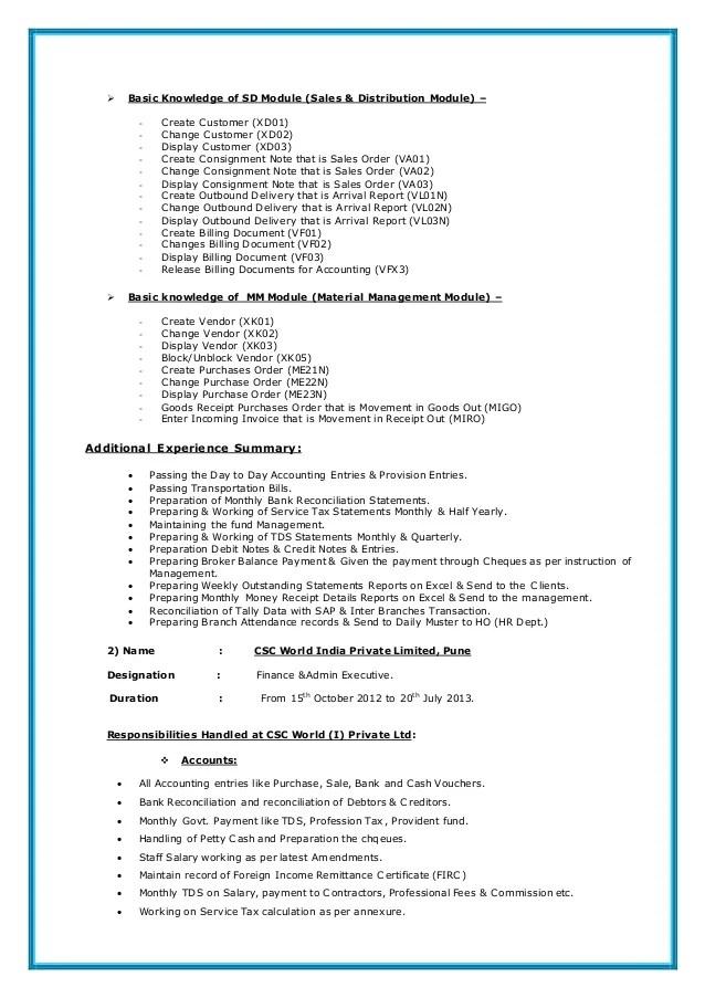 Sap fi resume sample