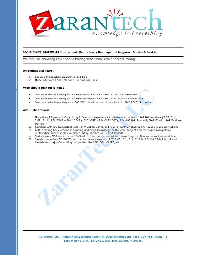 resume bo resume sap bo bi training from zarantech achal sap bo resume