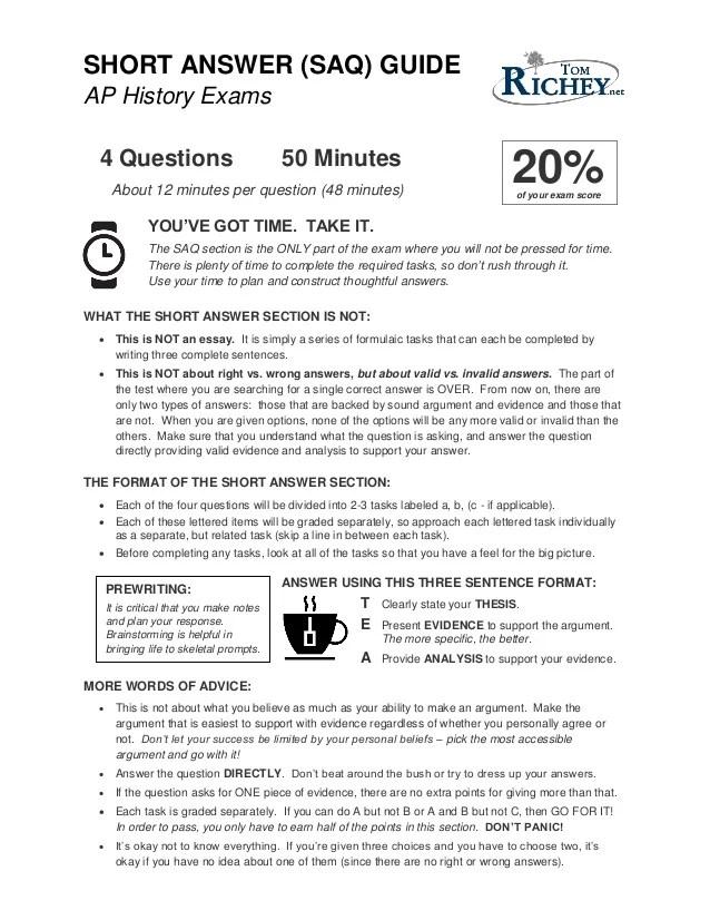 Example short essay rubric