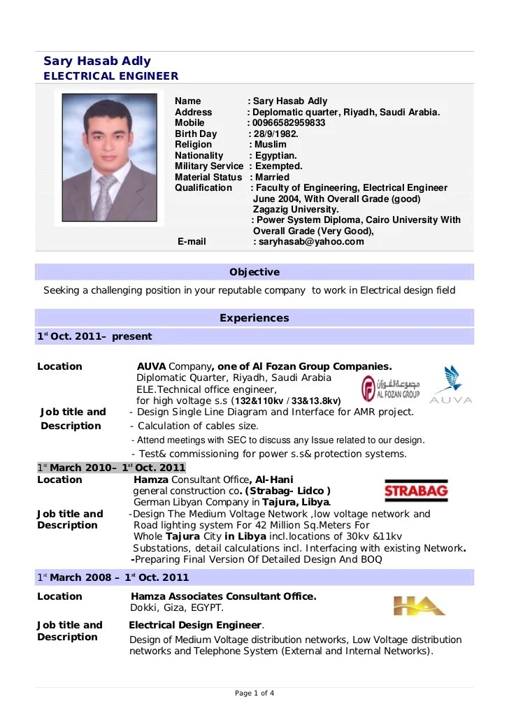 International Resume Format For Engineers | Resume Format
