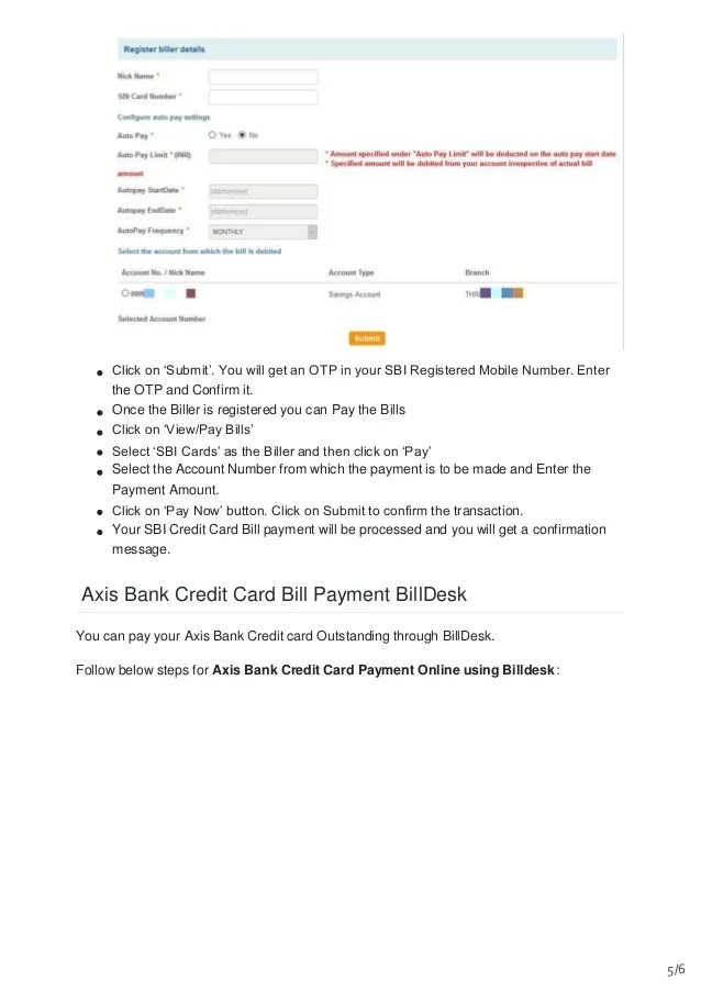 Pay Sbi Credit Card Online Billdesk Mamiihondenk Org