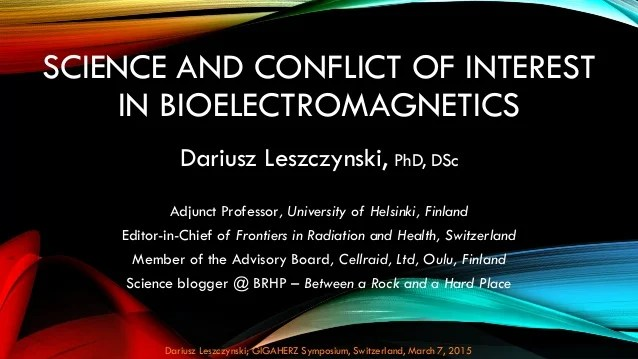 Science and conflict of interest in bioelectromagnetics